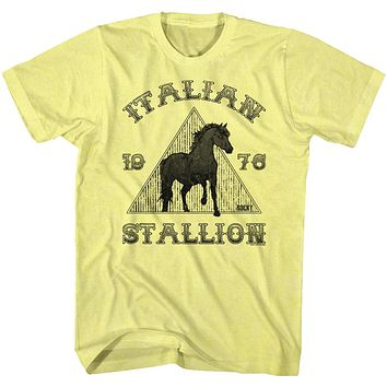Rocky T-Shirt Distressed Italian Stallion Black Horse Yellow Heather Tee