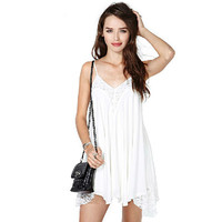 Summer White V Neck Lace Pleated Backless Casual Dresses