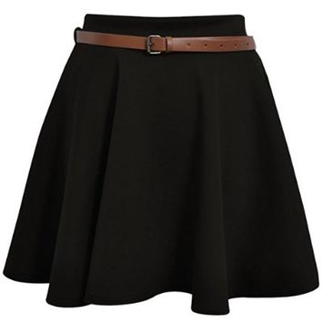 Womens News Belted Skater Flared Jersey Plain Mini Party Dress Skirt