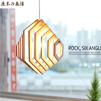 Korean Simple Chinese Wooden Pendant Lamp Modern Fashion Coffee Hall Chandelier Lighting Romantic Pastoral Living Room