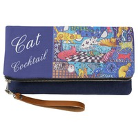 Cat Cocktail Whimsical Mix of Colorful Cats Clutch
