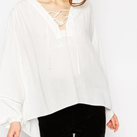 ASOS Lace Up Folk Blouse