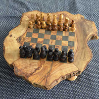 Unique hand carved Chess set game made of olive wood, + 32 pieces, Gift for him - T3 Black Square 3 cm
