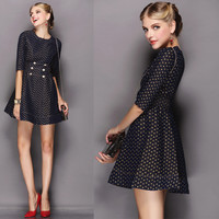 Black Hollow Button Empire Waist Princess A-Line Mini  Dress