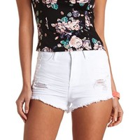 WHITE RIPPED DENIM HIGH-WAISTED SHORTS