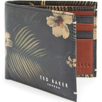 Men's Ted Baker London 'Heatup' Print Leather Bifold Wallet - Black