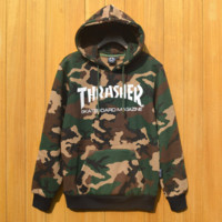Autumn and winter leisure tide card Thrasher camouflage skateboard hooded men and women couple models hooded sweater sportswear