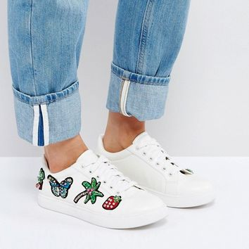 ASOS DIAMOND Wide Fit Patched Trainer at asos.com