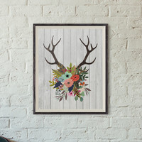 Printable Wall Art, Antlers with Flowers, 8x10 Inch, Printable, Rustic, Home Decor, Dorm Decor, Apartment Decor, Nursery Decor, Nursery Art