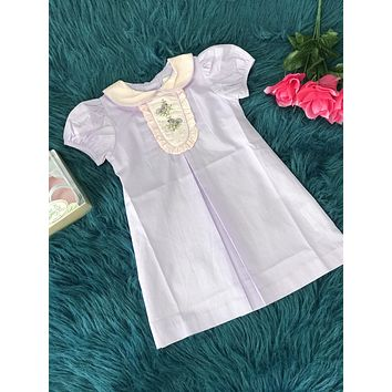 2019 Spring & Summer Love Me Purple Smocked Birds Dress