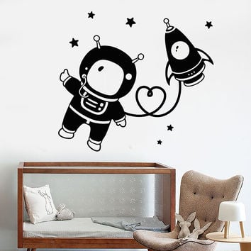 Vinyl Wall Decal Astronaut Space Star Rocket Nursery Children's Room Stickers Unique Gift (1112ig)