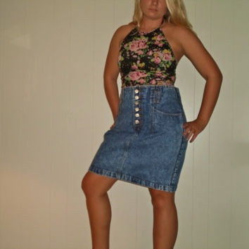 1990s Plus Size Acid Wash Denim High Waist Pencil Skirt, DEADSTOCK