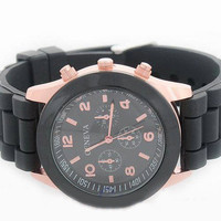 Rose Gold & Black Rubber Strap Watch from Her Vanity Affair