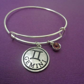 Zodiac Jewelry ~ Gemini Bracelet , June Birthday Gift , Alexandrite Birthstone Jewelry , Alex and Ani Inspired , Astrology Birthday Gift