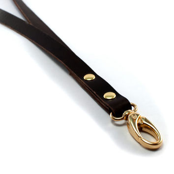 ID lanyard, leather key lanyard, leather strap keychain, keychain hanger, leather key holder, black lanyard, leather ID badge holder