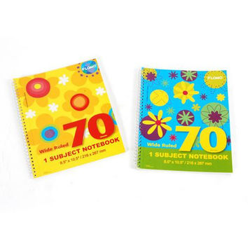 1 Subject Spiral Notebook - 70 Sheets Wide Ruled (Style #676)