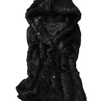 Women Winter Black Loose Warm Long Coat Jacket Faux Fur Collar Hooded Outwear