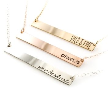 Personalized Bar Necklace - Spiffing Jewelry