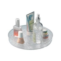 InterDesign Rain Lazy Susan Turntable Cosmetic Organizer for Vanity Cabinet to Hold Makeup, Beauty Products - Clear