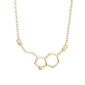 yiustar Serotonin Molecule Pendants Necklaces For Women Chemistry Chokers Collar Elegant Simple Gold Silver Necklaces XL012