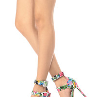 Floral Print Ankle Strap Stiletto Heels