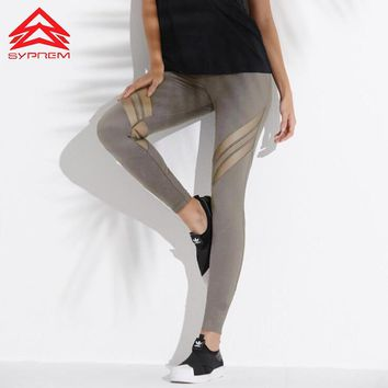 Syprem New Mesh Stitching Goddess Yoga Leggings Sexy Black Gym Sports Tights For Women Workout Running Sport Pants,1FP0030B