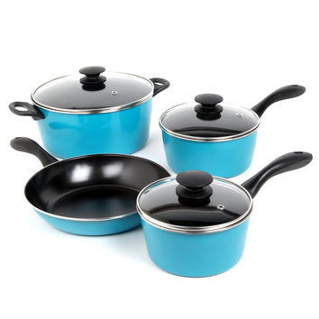 7-Piece Non-Stick Cookware Set in Teal Blue