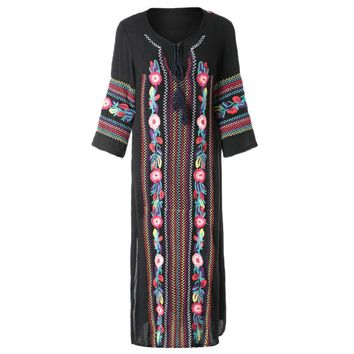 Vintage V-Neck Colorful Embroidered Side Slit Maxi Dress For Women