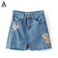 Summer 2017 denim skirts jeans women casual pink rose embroidery high waist mini skirt Elegant jupe femme saia jeans with tassel
