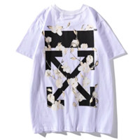 Off White New fashion bust letter print and back cross flower arrow print couple top t-shirt White