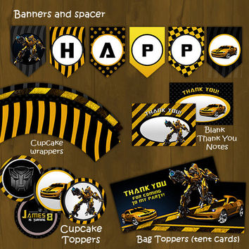 Bumblebee Transformers Printable Birthday Party Package - Bumble bee Complete Birthday Set - Invitation, cupcake toppers, banner etc