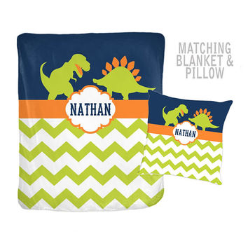 DINOSAUR Blanket Pillow Set - DINOSAUR Decor - Dino Theme Bedding - Personalized Name Blanket - Velveteen Blanket - Baby Boy Shower Gift