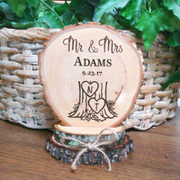 Custom Cake Topper, Wedding Cake Topper, Rustic Wedding Cake Topper, Personalized Cake Topper, Wood Cake Top, Mr & Mrs Cake Topper