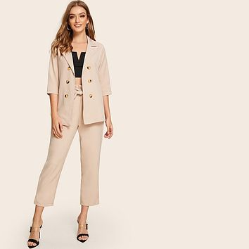 Solid Double-breasted Blazer With Belted Pants