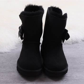 Ugg winter women's bow-knot long boots black shoes