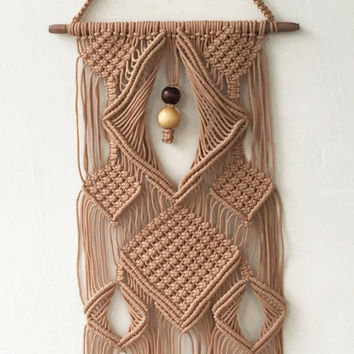 Macrame wall Hanging, Boho home decor, tan color