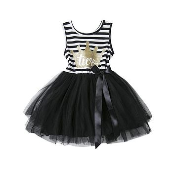 Princess Girl Dress 2017 Girls Stripe Bow Cute Dress Baby Infant Party Dresses Tutu Kids Clothes For Newborn Baby First Birthday
