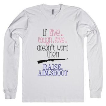 Raise. Aim. Shoot.-Unisex White T-Shirt