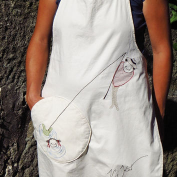 Natural colored Linen-Cotton Apron Vissen with round pocket,embroidry