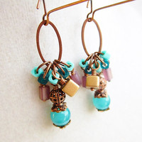 Teal Purple & Gold Cluster and Oval Ring Long Dangly Copper Earrings
