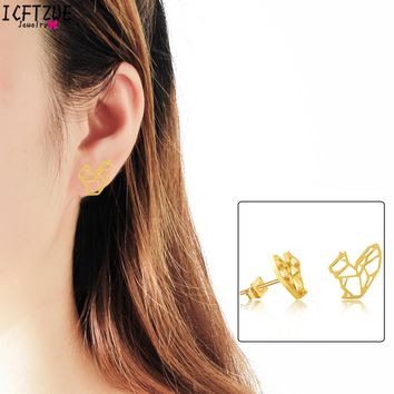 ICFTZWE Dainty Origami Squirrel Earring Hipster Jewelry Gold Color Silver Stainless Steel Stud Earrings For Women