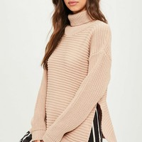 Missguided - Tan Roll Neck Step Hem Knitted Sweater
