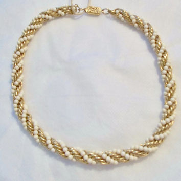 Crown Trifari, White and Gold Twisted Rope Bead Necklace, Choker, Twisted Rope Necklace, Choker, Vintage Condition