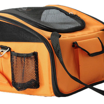 Ultra-Lock' Collapsible Safety Travel Wire Folding Pet Car Seat Carrier  - Orange