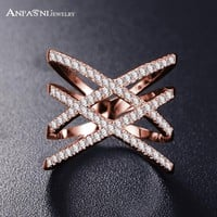 Fashion Rings for Women Double Letter X Shape Ring Zirconia Micro Paved Women Anel