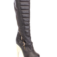 Black Quilted Knee High Heel Boots Faux