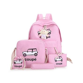 School Backpack 4pcs/set school bags Children cartoon printing schoolbags for girls Sweet lady backpacks High quality canvas  AT_48_3