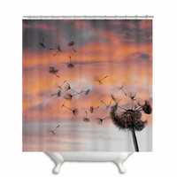 "Shower Curtain ""Dandy"", Dandelion, Pink, Clouds, Nature, Wish, Shower, Bath, Bathroom, Home Decor, Photography, Photo"