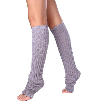 2015 Womens Winter Warm Leg Warmers Socks Boot Cover Boot Cuff Knitted Knee High Free Shipping