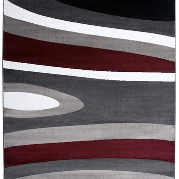 3806 Gray Red Contemporary Area Rugs